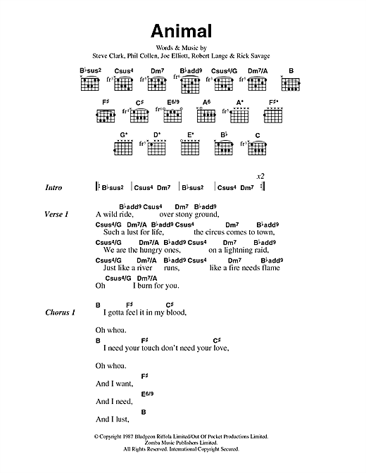 Def Leppard Animal sheet music notes and chords. Download Printable PDF.