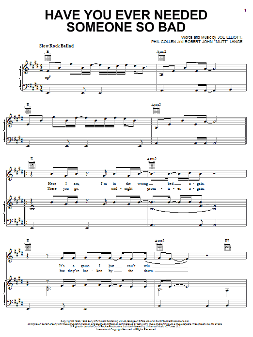 Def Leppard Have You Ever Needed Someone So Bad sheet music notes and chords. Download Printable PDF.