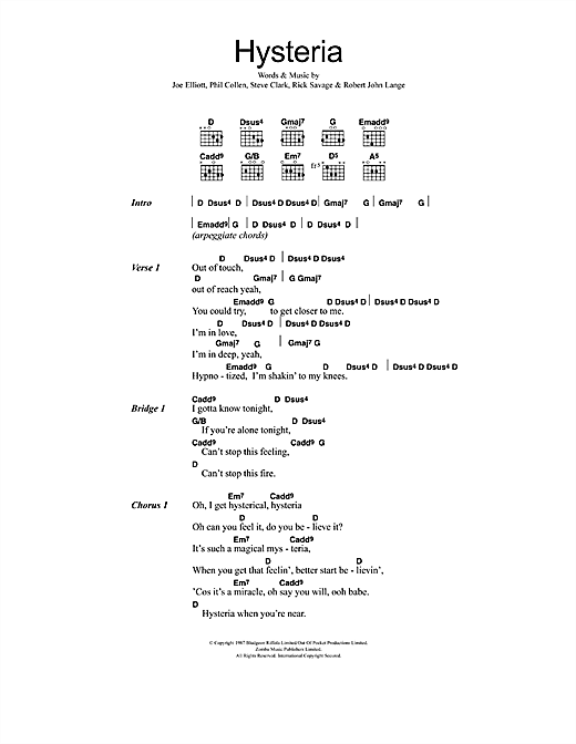 Def Leppard Hysteria sheet music notes and chords. Download Printable PDF.