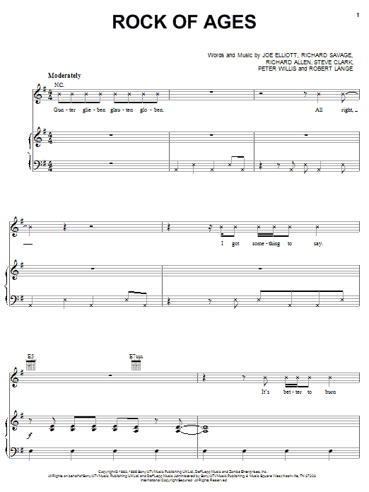 Def Leppard Rock Of Ages sheet music notes and chords. Download Printable PDF.