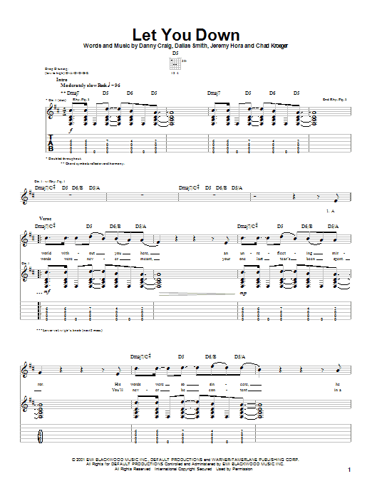 Default Let You Down sheet music notes and chords
