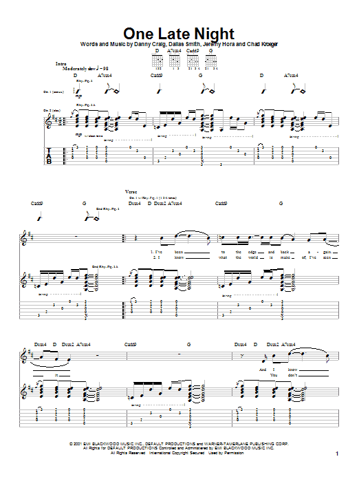 Default One Late Night sheet music notes and chords