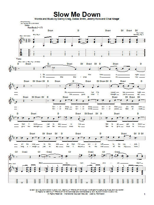 Default Slow Me Down sheet music notes and chords