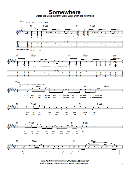 Default Somewhere sheet music notes and chords