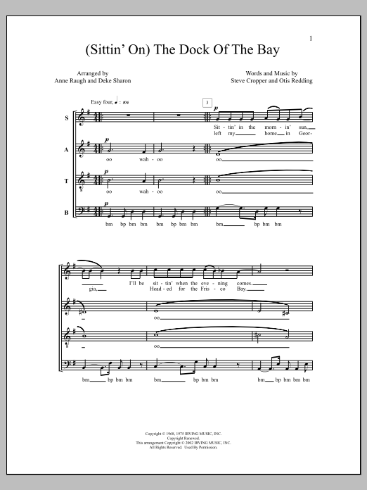 Deke Sharon (Sittin' On) The Dock of the Bay sheet music notes and chords. Download Printable PDF.
