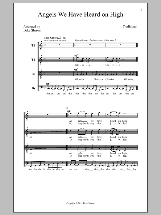 Deke Sharon Angels We Have Heard On High sheet music notes and chords. Download Printable PDF.
