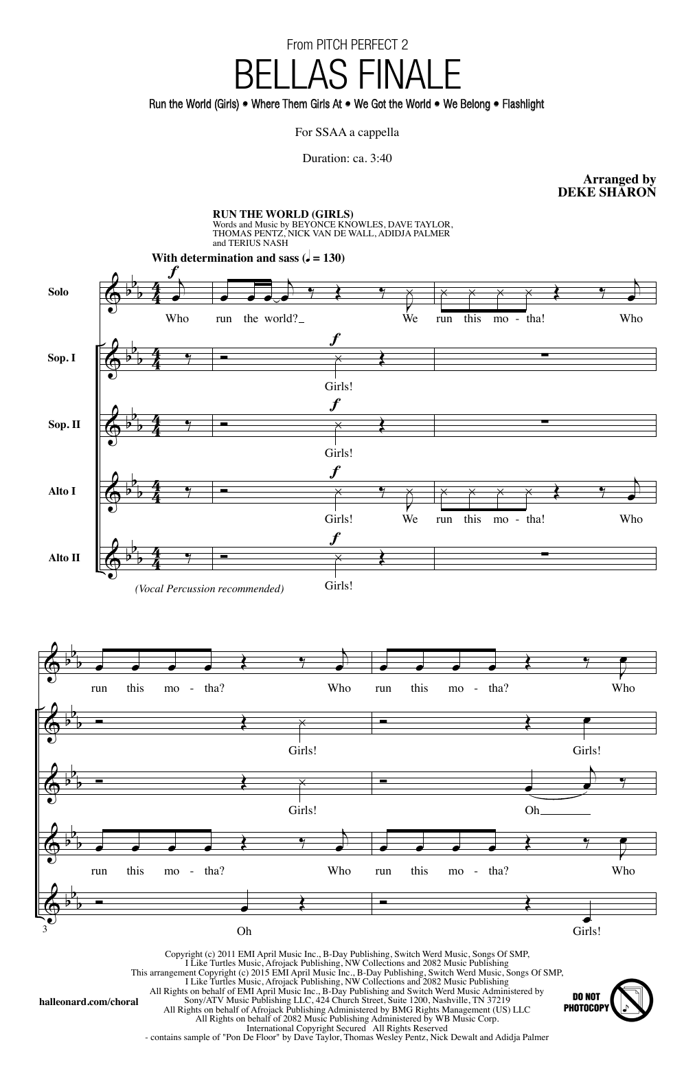 Deke Sharon Bellas Finale sheet music notes and chords. Download Printable PDF.