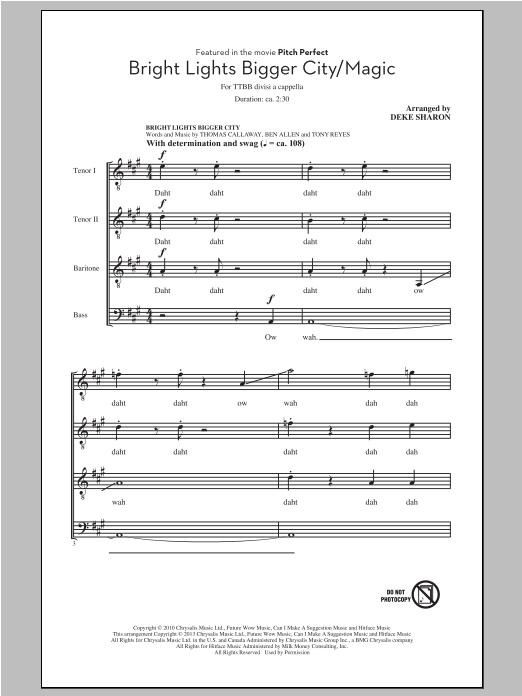 Deke Sharon Bright Lights Bigger City/Magic sheet music notes and chords. Download Printable PDF.