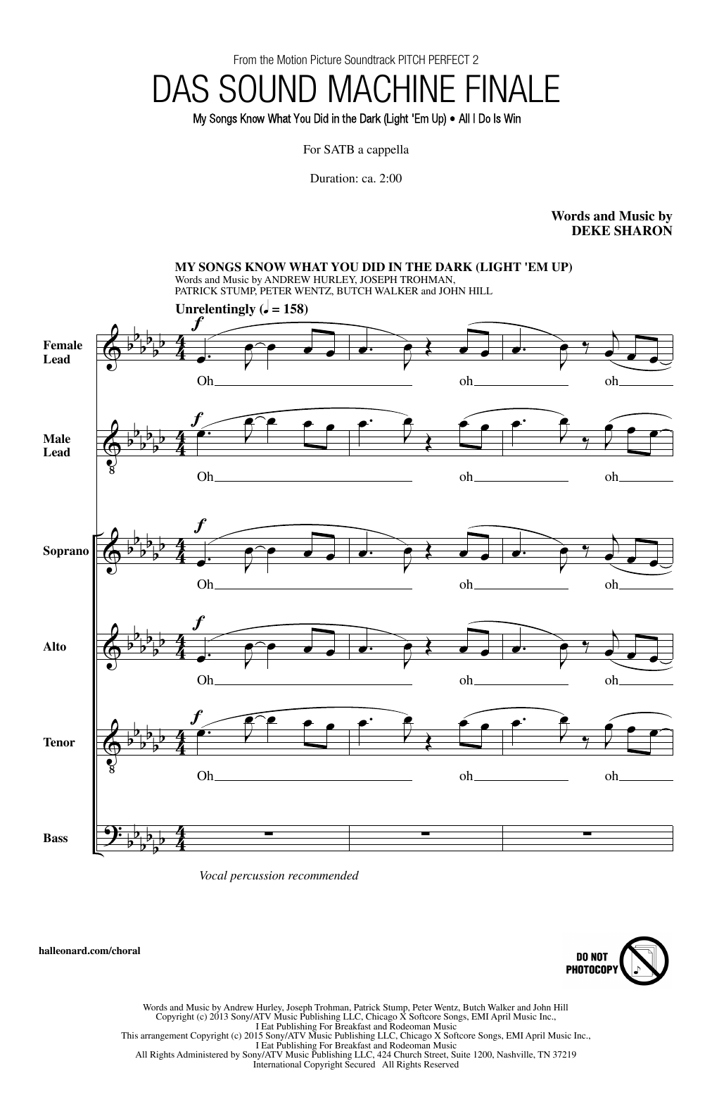 Deke Sharon Das Sound Machine Finale sheet music notes and chords. Download Printable PDF.