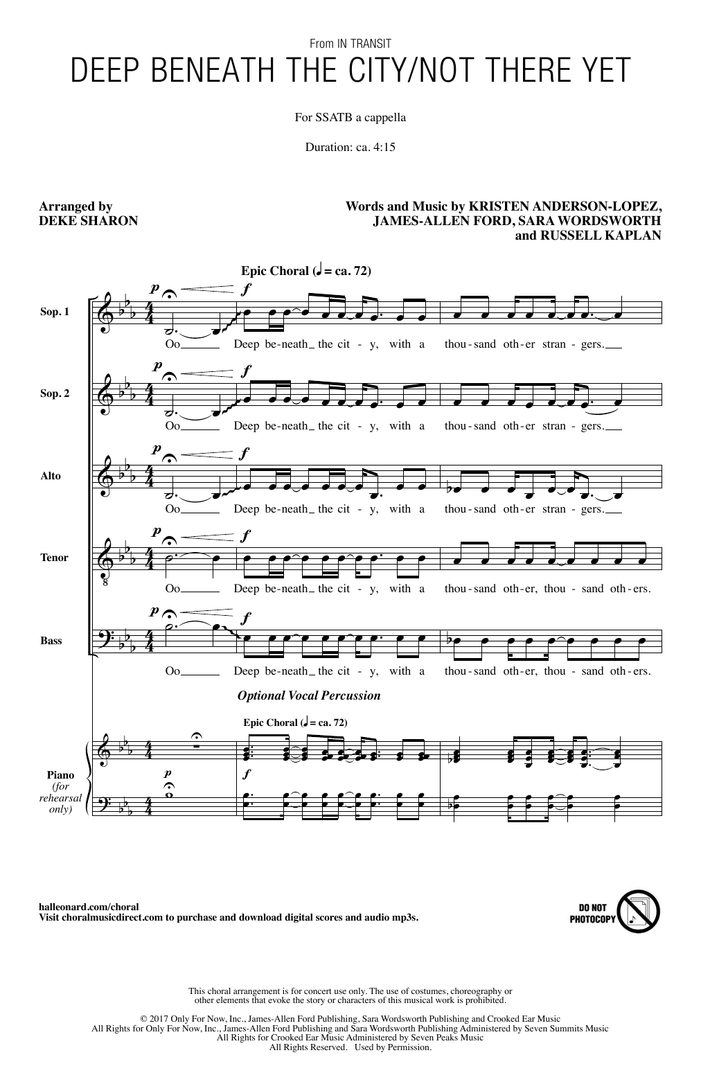 Deke Sharon Deep Beneath The City/Not There Yet sheet music notes and chords. Download Printable PDF.