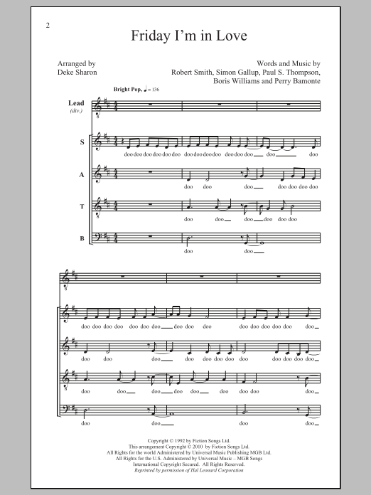 Deke Sharon Friday I'm In Love sheet music notes and chords. Download Printable PDF.