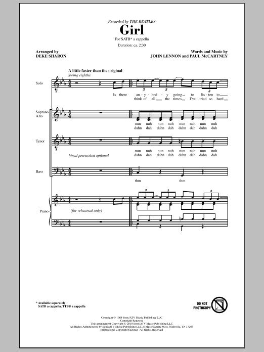 Deke Sharon Girl sheet music notes and chords. Download Printable PDF.