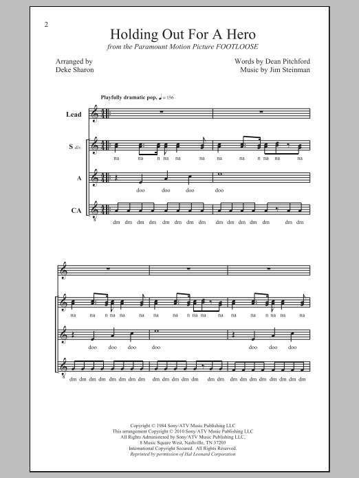 Deke Sharon Holding Out For A Hero sheet music notes and chords. Download Printable PDF.