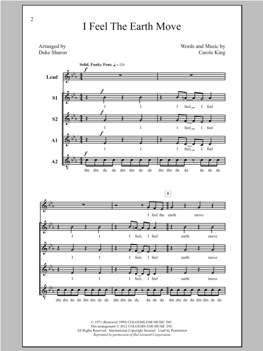 Deke Sharon I Feel The Earth Move sheet music notes and chords. Download Printable PDF.