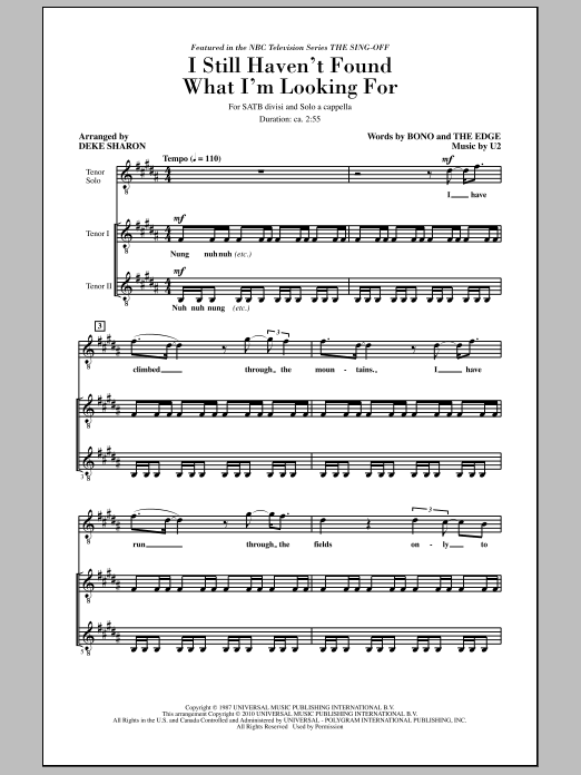 Deke Sharon I Still Haven't Found What I'm Looking For (from NBC's The Sing-Off) sheet music notes and chords. Download Printable PDF.