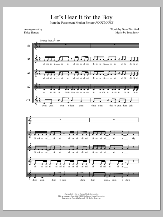 Deke Sharon Let's Hear It for the Boy sheet music notes and chords. Download Printable PDF.