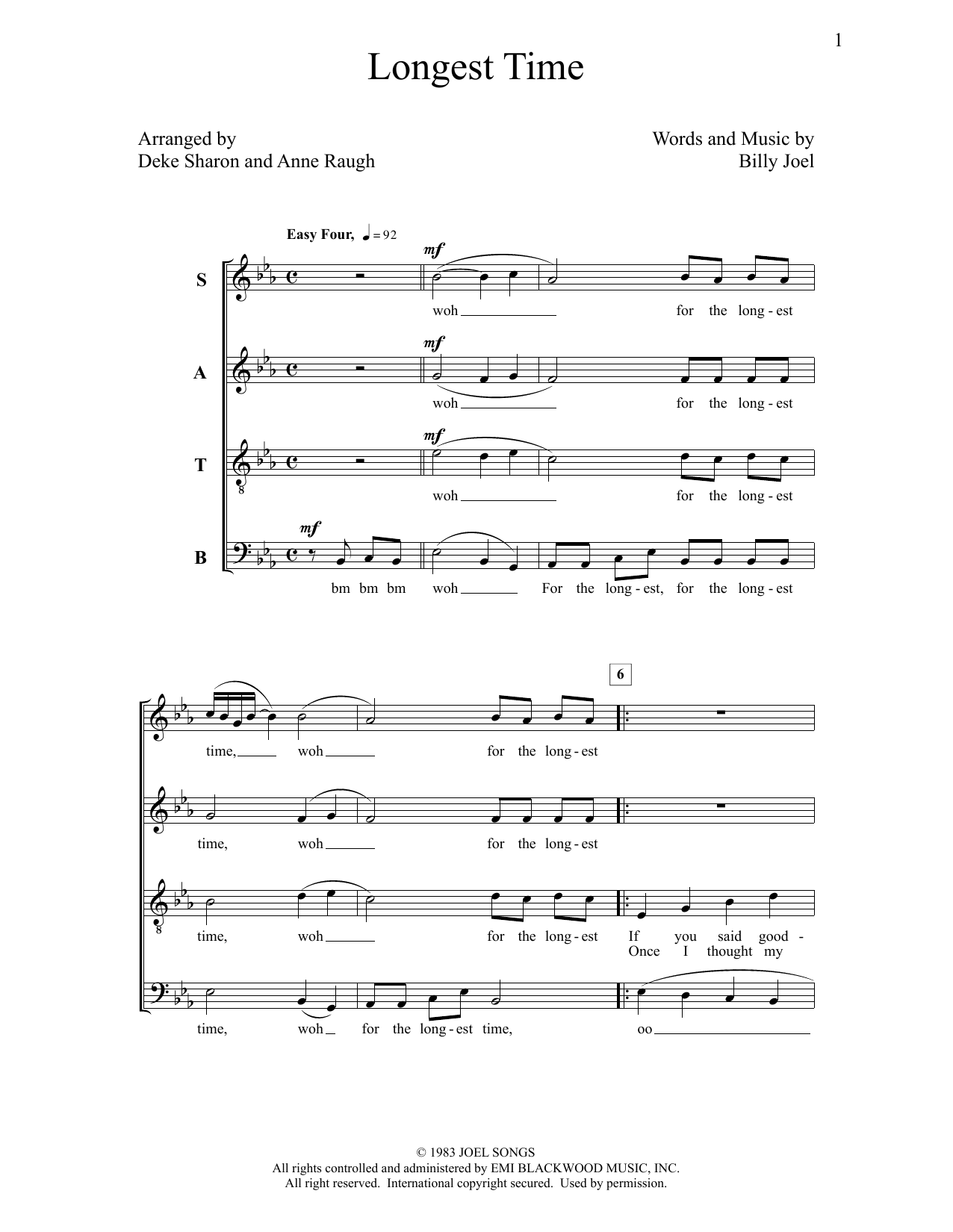 Deke Sharon Longest Time sheet music notes and chords. Download Printable PDF.