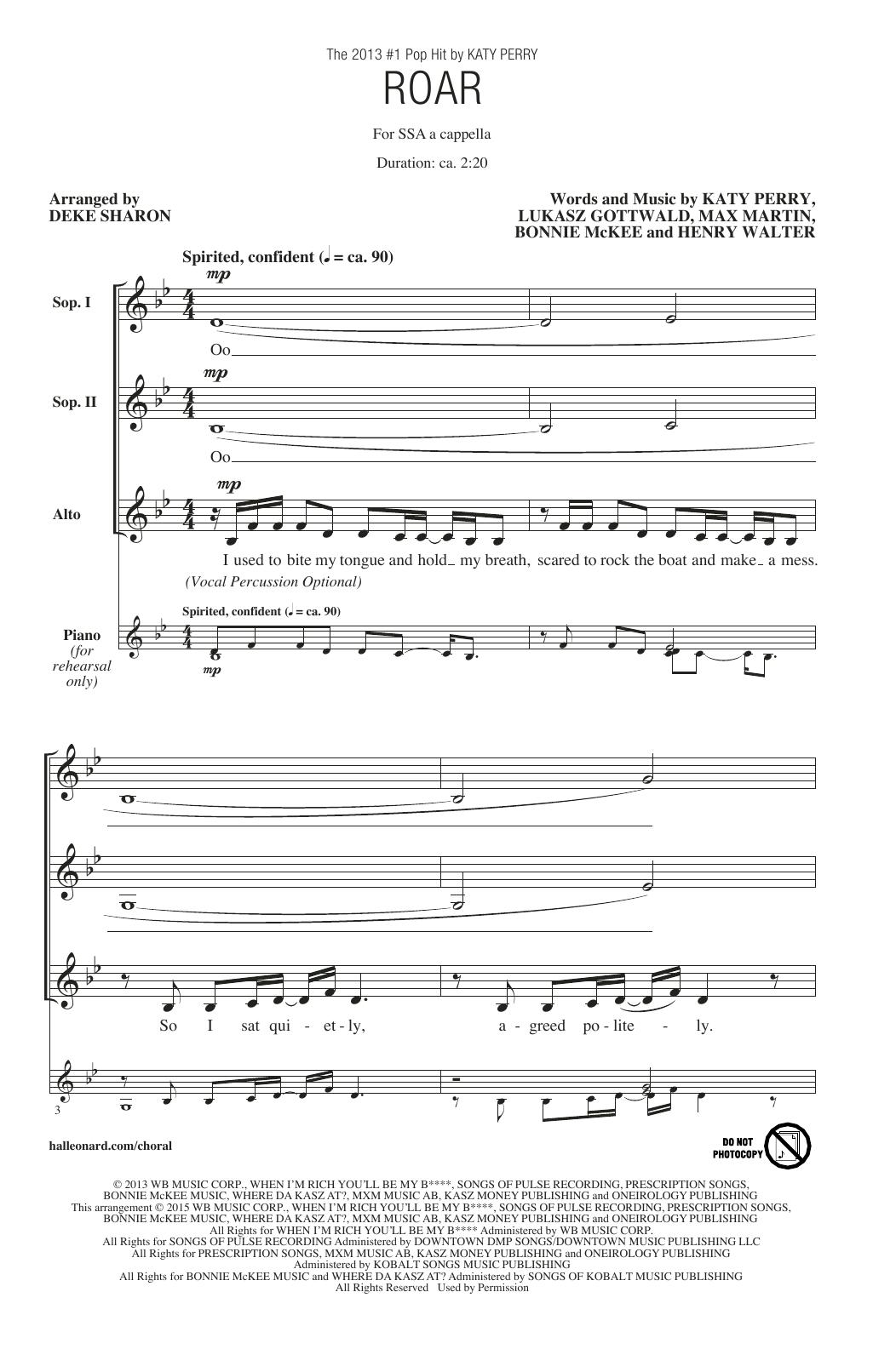 Deke Sharon Roar sheet music notes and chords. Download Printable PDF.