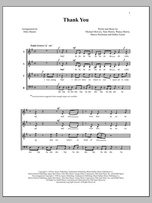 Deke Sharon Thank You sheet music notes and chords. Download Printable PDF.