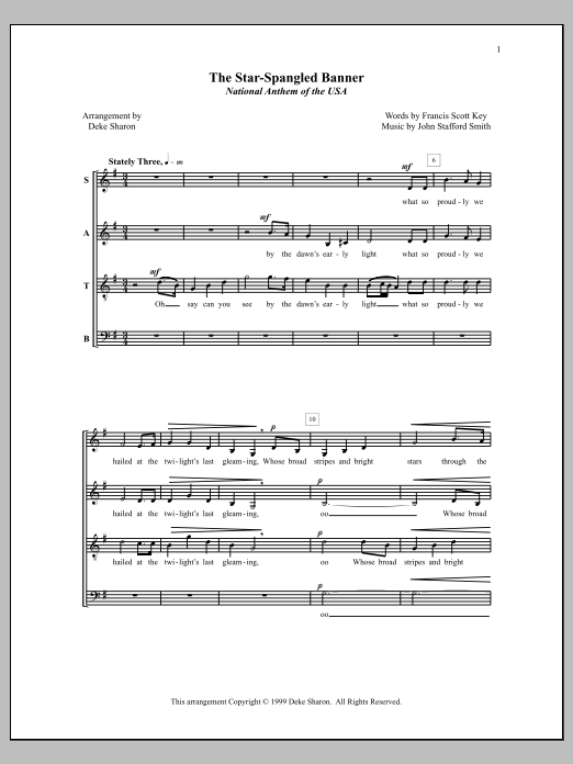 Deke Sharon The Star-Spangled Banner sheet music notes and chords. Download Printable PDF.