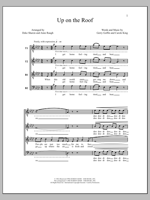 Deke Sharon Up On the Roof sheet music notes and chords. Download Printable PDF.