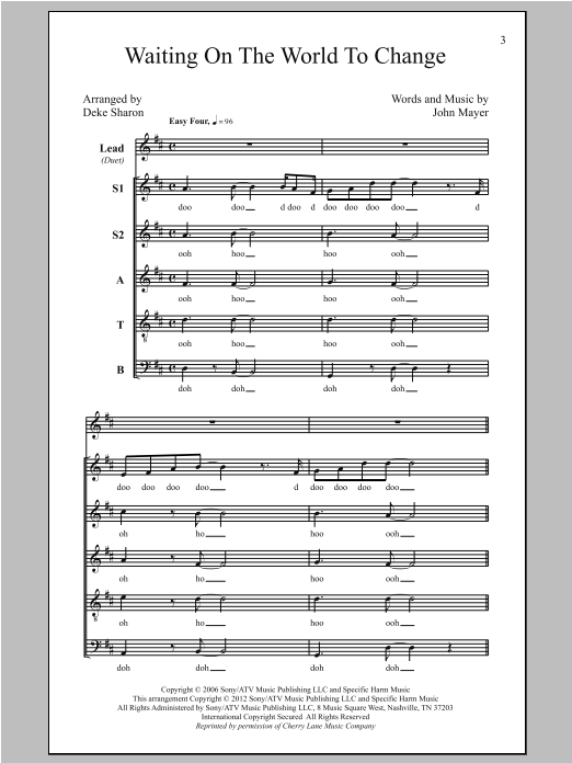 Deke Sharon Waiting On The World To Change sheet music notes and chords. Download Printable PDF.