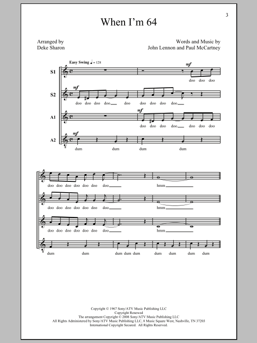 Deke Sharon When I'm Sixty-Four sheet music notes and chords. Download Printable PDF.