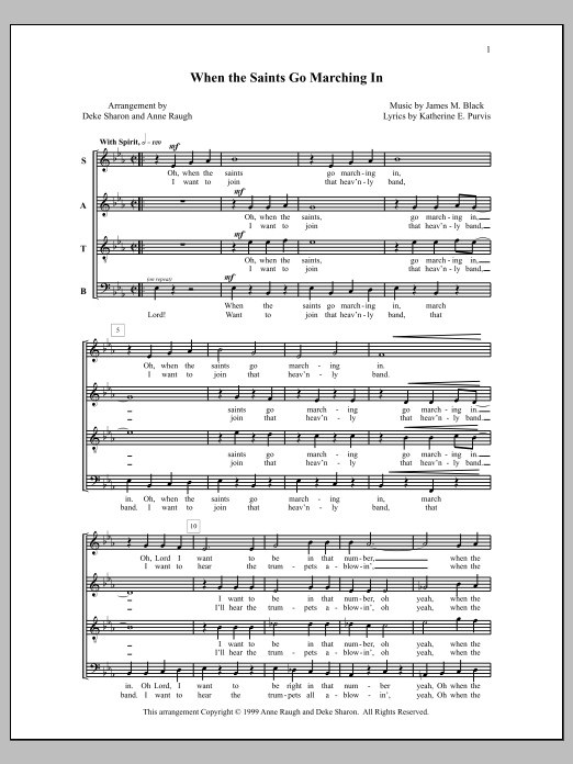 Deke Sharon When the Saints Go Marching In sheet music notes and chords. Download Printable PDF.