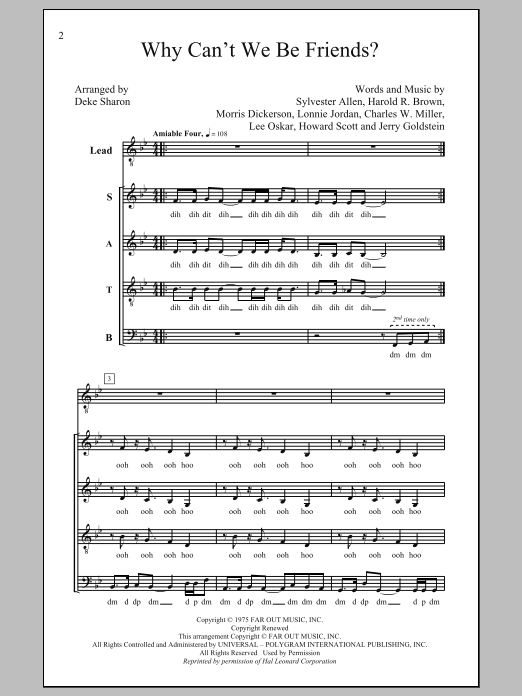 Deke Sharon Why Can't We Be Friends sheet music notes and chords. Download Printable PDF.