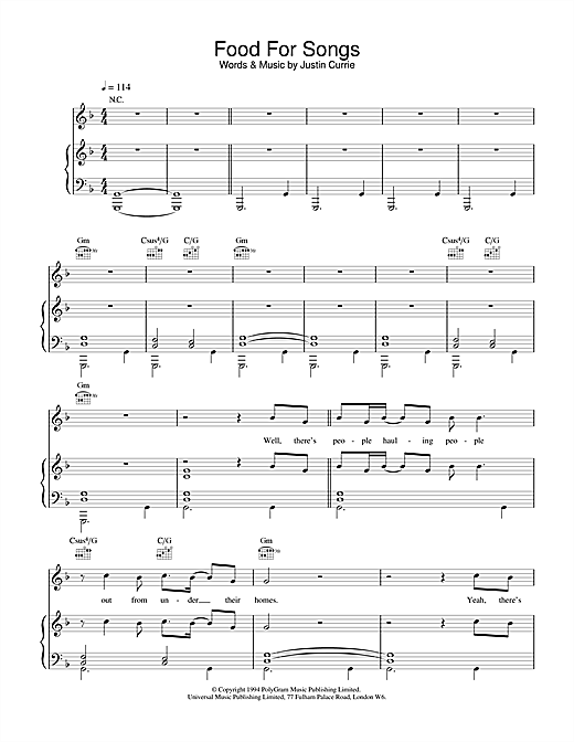 Del Amitri Food For Songs sheet music notes and chords