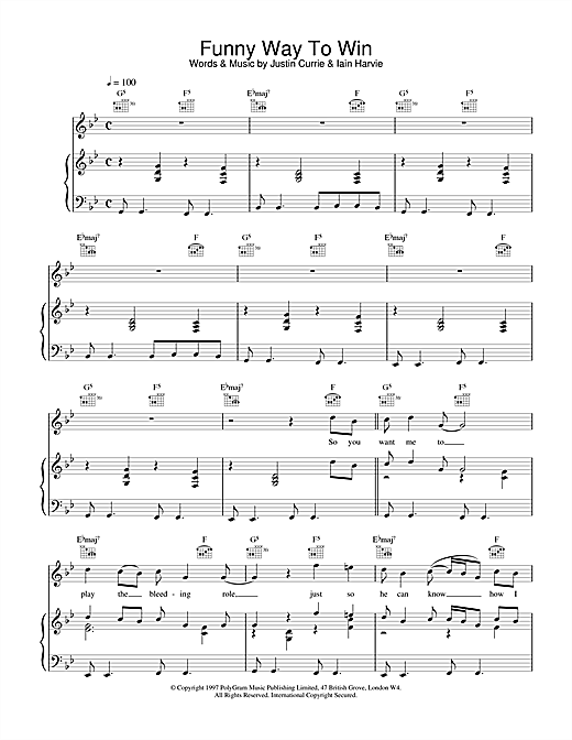 Del Amitri Funny Way To Win sheet music notes and chords. Download Printable PDF.