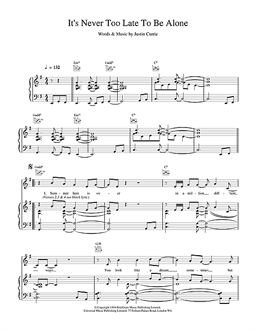 Del Amitri It's Never Too Late To Be Alone sheet music notes and chords. Download Printable PDF.