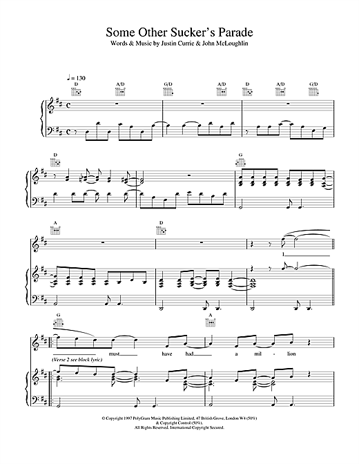 Del Amitri Some Other Sucker's Parade sheet music notes and chords. Download Printable PDF.