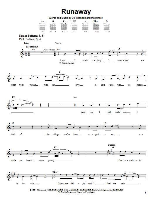 Del Shannon Runaway sheet music notes and chords. Download Printable PDF.
