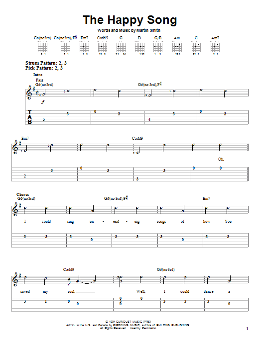 Delirious? 'The Happy Song' Sheet Music Notes, Chords | Download Printable  Easy Guitar Tab - SKU: 29299