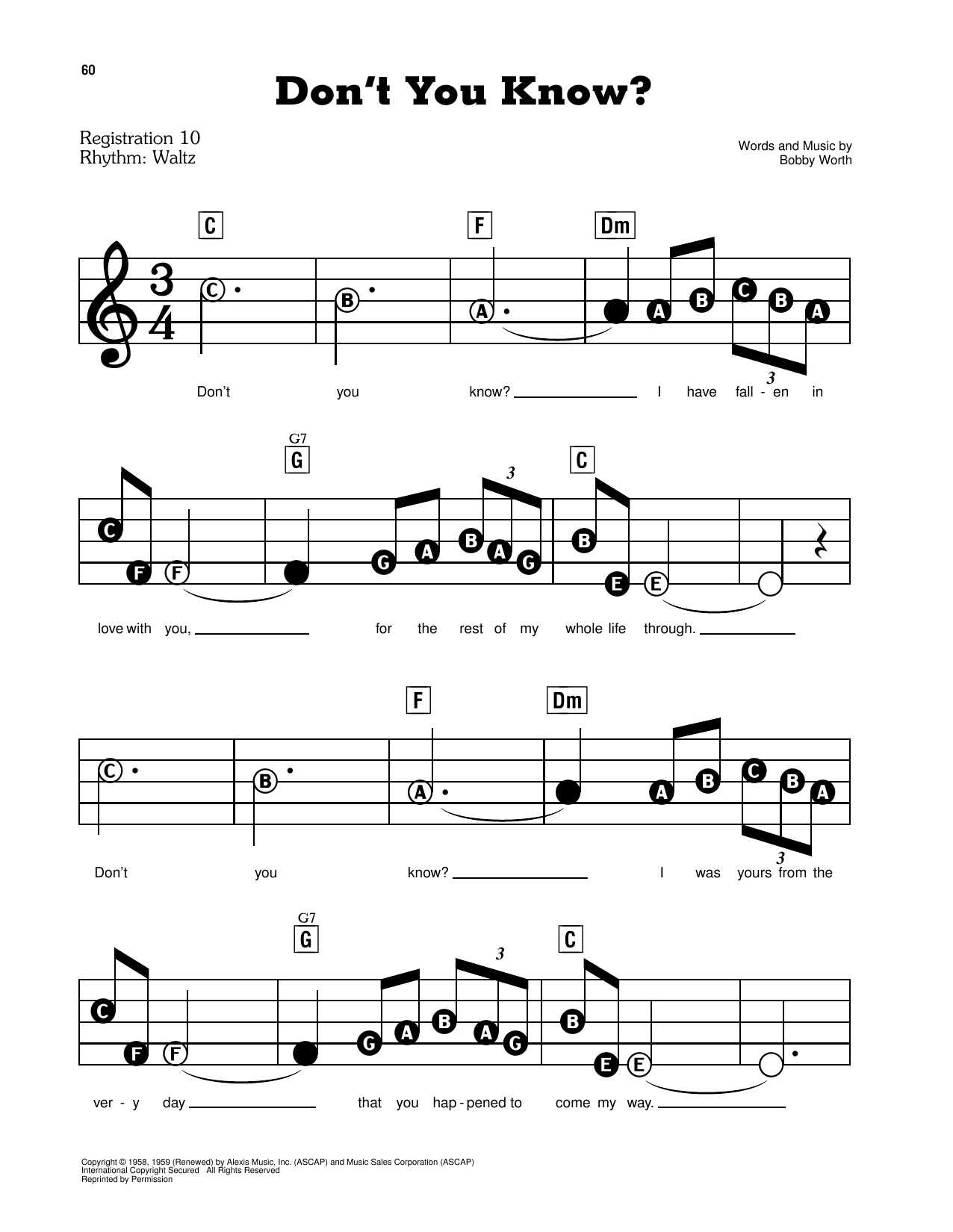 Della Reese Don't You Know? sheet music notes and chords. Download Printable PDF.