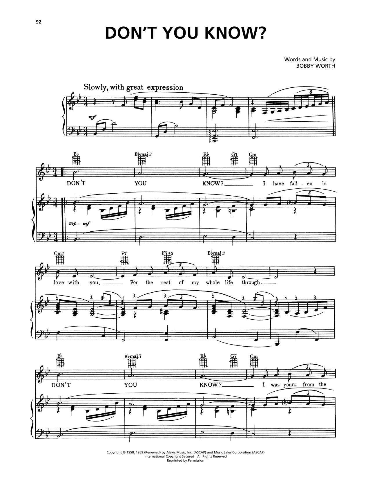 Della Reese Don't You Know? (from A Bronx Tale) sheet music notes and chords