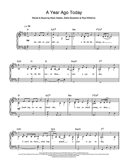 Delta Goodrem A Year Ago Today sheet music notes and chords