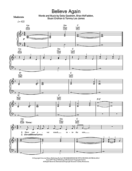 Delta Goodrem Believe Again sheet music notes and chords. Download Printable PDF.