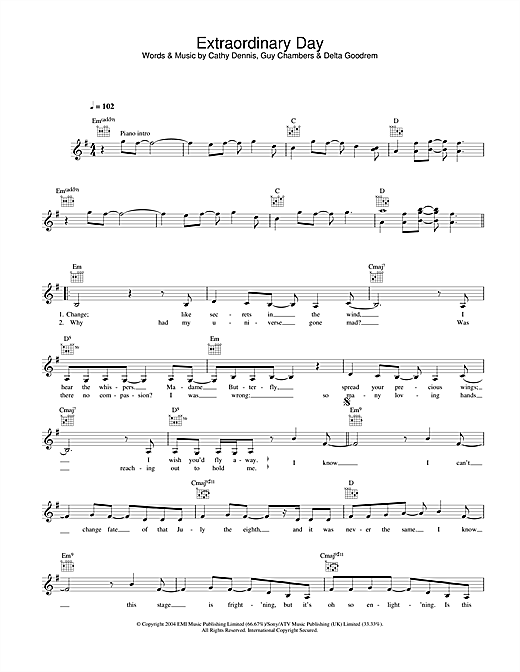 Delta Goodrem Extraordinary Day sheet music notes and chords. Download Printable PDF.