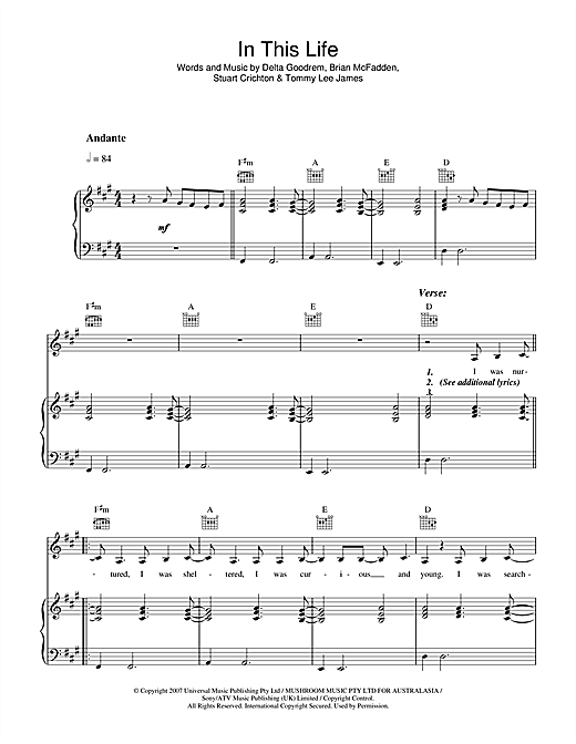 Delta Goodrem In This Life sheet music notes and chords