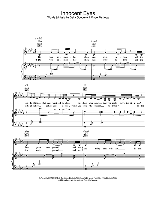 Delta Goodrem Innocent Eyes sheet music notes and chords