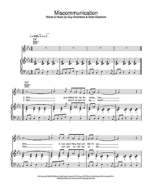 Delta Goodrem Miscommunication sheet music notes and chords