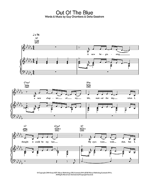 Delta Goodrem Out Of The Blue sheet music notes and chords. Download Printable PDF.