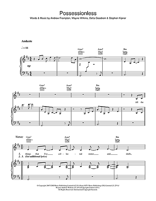 Delta Goodrem Possessionless sheet music notes and chords