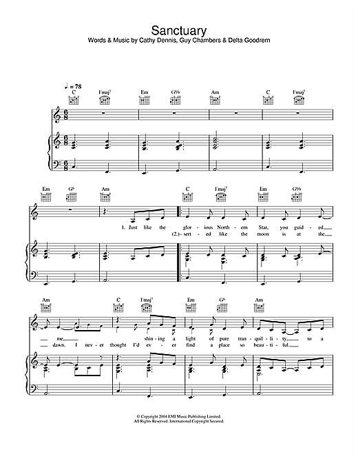 Delta Goodrem Sanctuary sheet music notes and chords