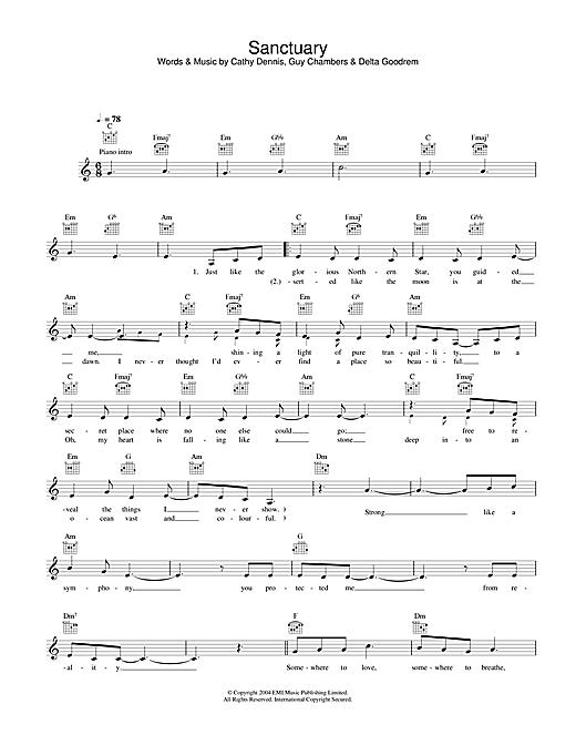 Delta Goodrem Sanctuary sheet music notes and chords. Download Printable PDF.
