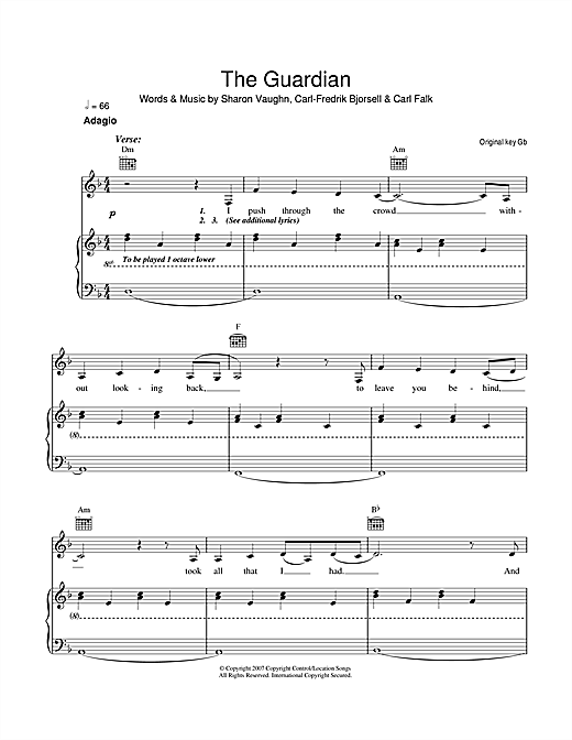 Delta Goodrem The Guardian sheet music notes and chords. Download Printable PDF.