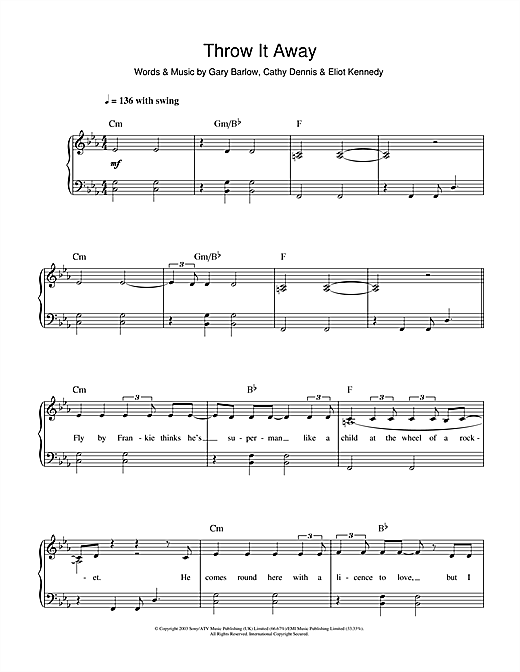 Delta Goodrem Throw It Away sheet music notes and chords. Download Printable PDF.