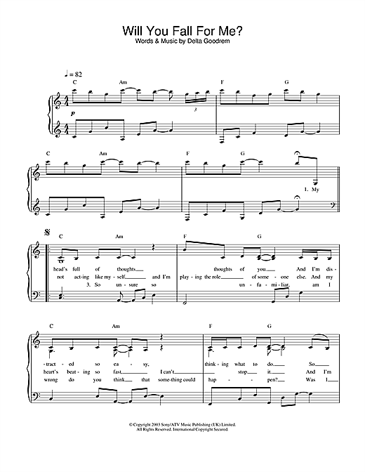 Delta Goodrem Will You Fall For Me? sheet music notes and chords. Download Printable PDF.